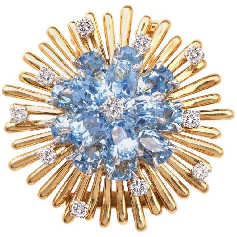 1960s Circular Diamond Aquamarine Brooch Pin