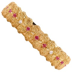 1980s Tiffany & Co. Vintage Diamond Ruby Gold Bracelet