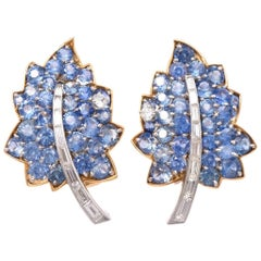 Vintage Diamond Sapphire Cluster Retro Leaves Earrings