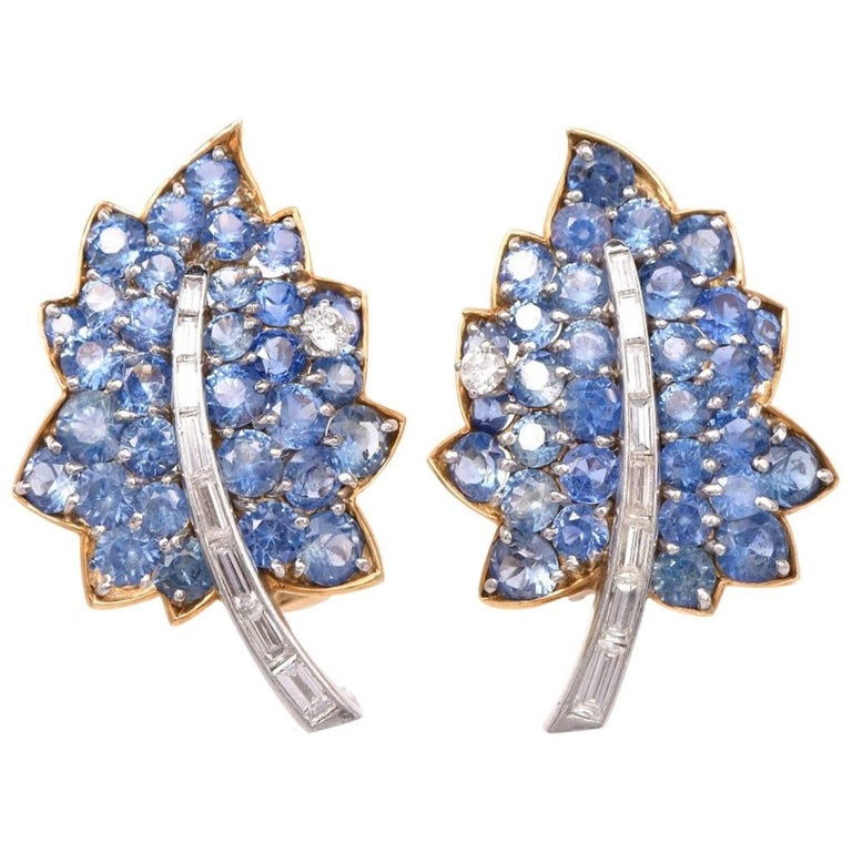 Vintage Diamond Sapphire Cluster Retro Leaves Earrings 1