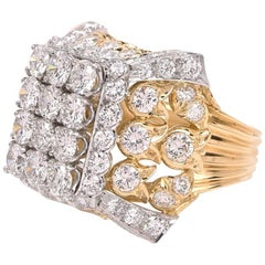1960s Diamond Ladies Cocktail Platinum and Gold Ring