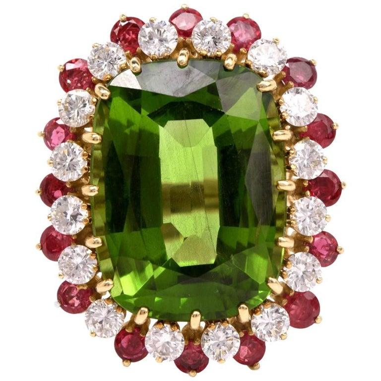 1970's Rare Green Peridot Diamond and Ruby Cocktail Ring