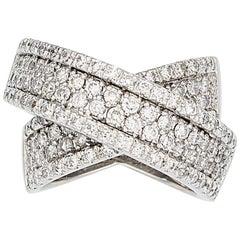 Diamond White Gold Crossover Ring