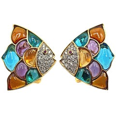 Diamond, Ruby, Multicolored Glass Gold Tropical Fish Ear Clips