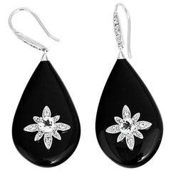 Miriam Salat Starbust Black Resin and Topaz Drop Earrings