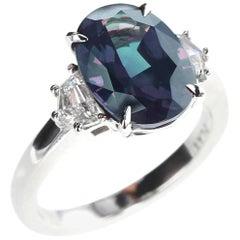 5 Carat Natural Brazil Alexandrite and Diamond Three-Stone Platinum Ring