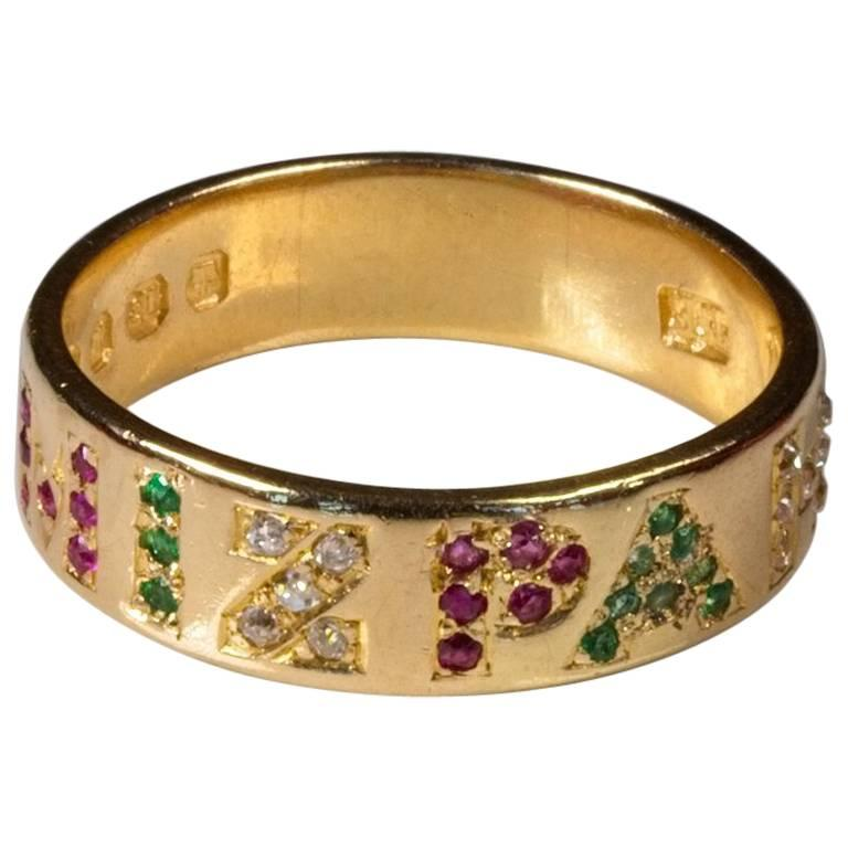 Rare Mizpah Stoneset Ring Ruby Emerald Diamond 1872 At