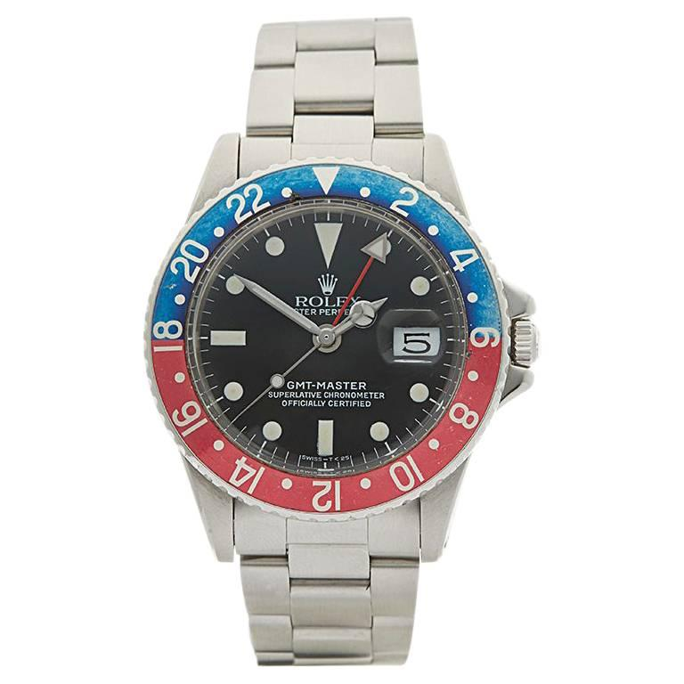 Rolex Stainless Steel GMT-Master Pepsi Automatic Wristwatch Ref 1675, 1967