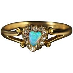 Antique Victorian Opal Diamond Heart Ring circa 1900 18 Carat Gold
