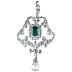 Antique Victorian Green White Paste Pendant, circa 1900