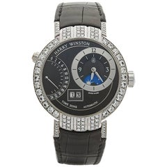 Harry Winston White Gold Premier Excenter Timezone Automatic Wristwatch