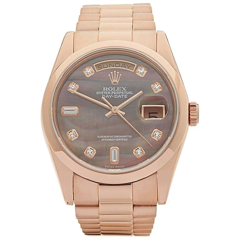 Rolex Rose Gold Day-Date Automatic Wristwatch Ref 118205, 2000