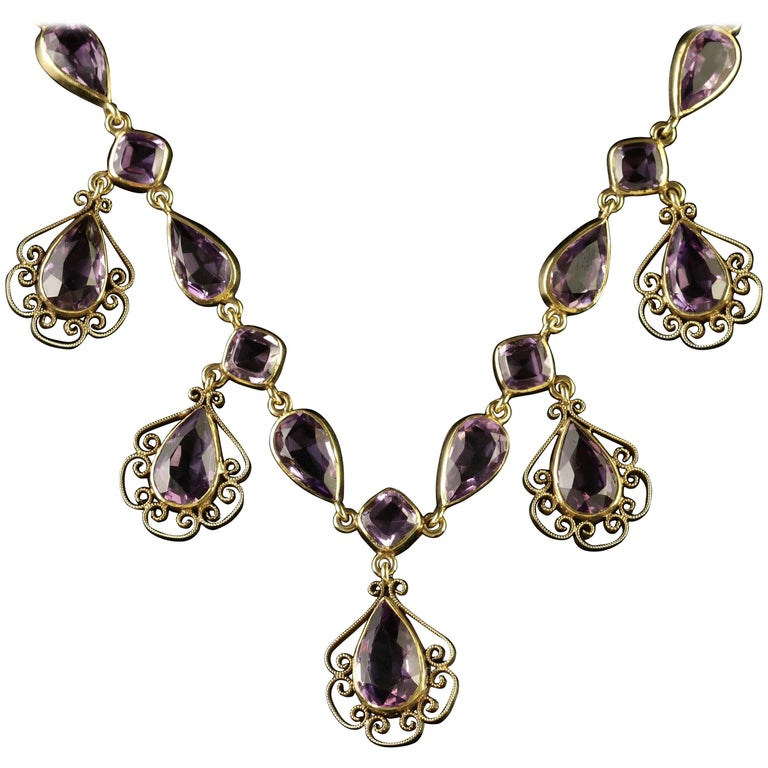 Antique Victorian Amethyst Gold Garland Necklace, circa 1900