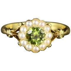 Antique Victorian Peridot and Pearl Ring 18 Carat Gold