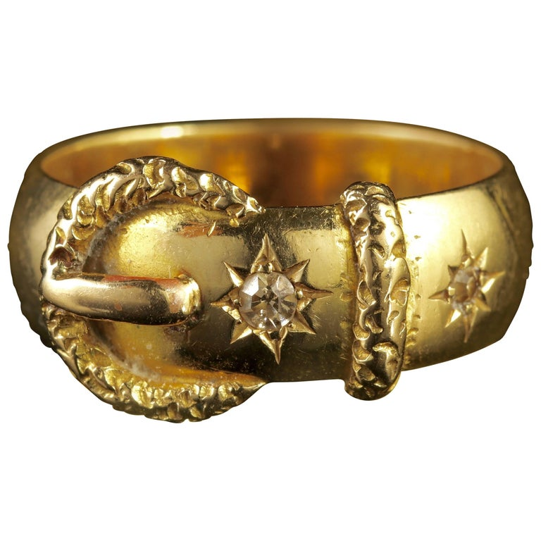 Edwardian Diamond Buckle Ring 18 Carat Gold Dated London 1915 Wedding Ring