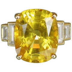 26.46 Carat Danburite and Diamond Gold Statement Ring