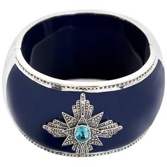 Miriam Salat Blue and White Topaz Medallion Cuff in Navy Resin