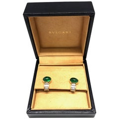 Bvlgari Cabochon Emerald Diamond Earrings