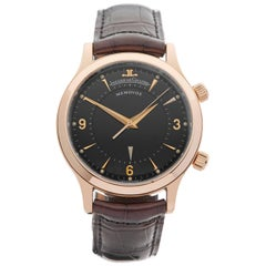 Jaeger LeCoultre Rose Gold Memovox Mechanical Wind Wristwatch, 2016