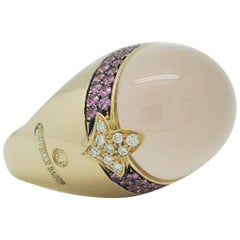 Nouvelle Bague 18 Karat Gold Cabochon Coral Pink Sapphires and Diamond Dome Ring