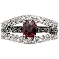 Ruby Black White Diamond Ring