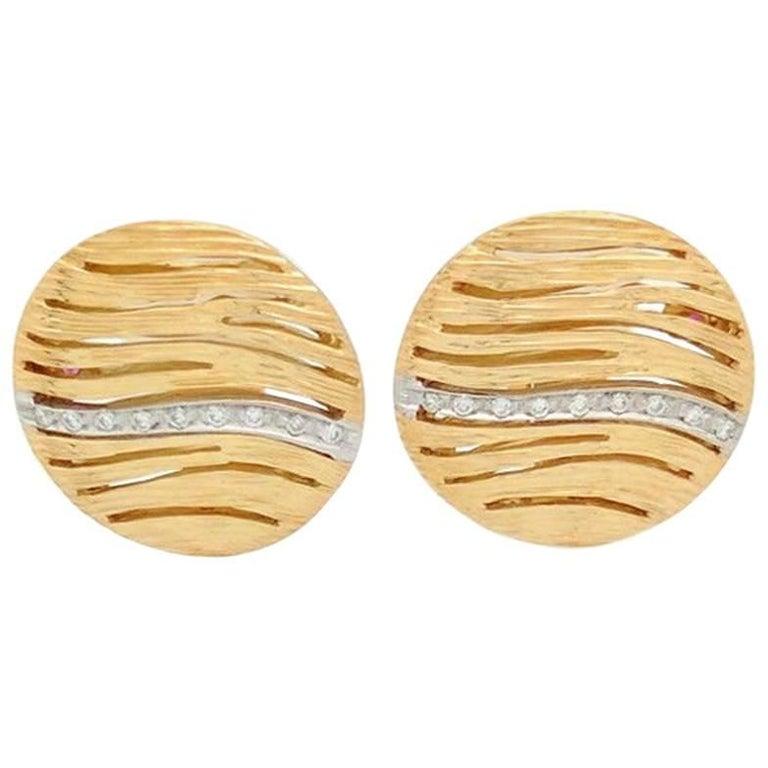 Roberto Coin 18 Karat Yellow Gold Elephantino Earrings with Diamonds
