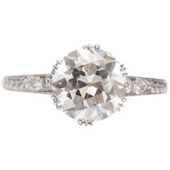 1920s Art Deco GIA Certified 2.01 Carat Diamond Platinum Engagement Ring