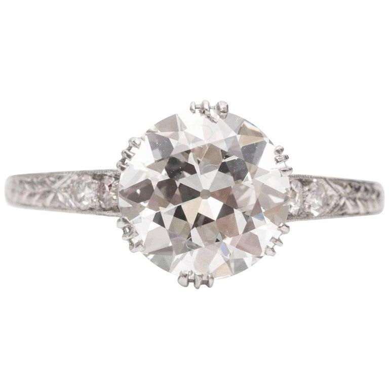 1920s Art Deco GIA Certified 2.01 Carat Diamond Platinum Engagement Ring
