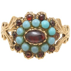 Georgian Gold Garnet and Turquoise Ring