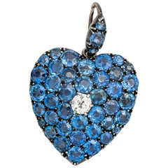 Late 1800s Victorian Sapphire and Old Miner Diamond Heart Pendant