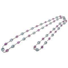 Aquamarine Pink Sapphire Diamond Necklace
