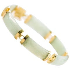 1950s 14K Gold and Jade Curved Link Bracelet