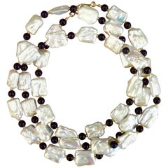 Michael Kneebone White Tile Pearl Black Onyx Bead Necklace