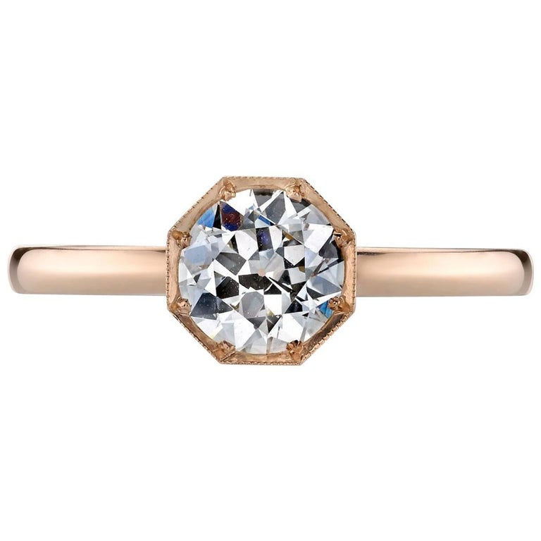 GIA Certified Old European Cut Diamond Rose Gold Engagement Ring