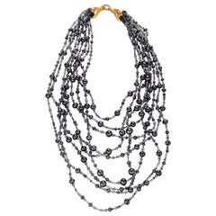 Naomi Sarna Black and White Diamond Labradorite Iolite Amethyst Gold Necklace