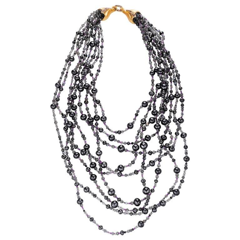 Naomi Sarna Black and White Diamond Labradorite Iolite Amethyst Gold Necklace