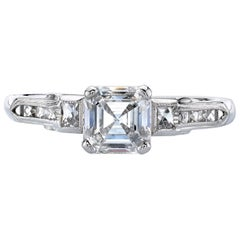 Vintage Platinum GIA Certified Asscher Cut Diamond Engagement Ring