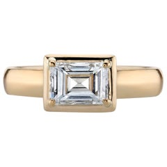 Yellow Gold EGL Certified Carré Cut Diamond Engagement Ring