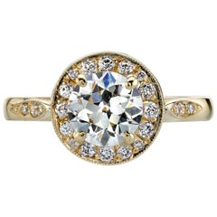Yellow Gold GIA Certified Old European Cut Diamond Engagement Ring