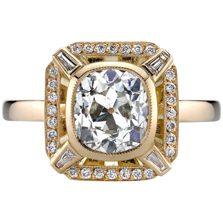 Yellow Gold EGL Certified Cushion Cut Diamond Engagement Ring
