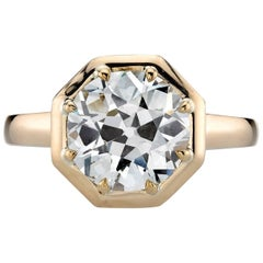 3.32 Carat Old European Cut Diamond Set in a Handcrafted Yellow Gold Ring