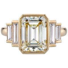 GIA Certified Emerald Cut Diamond Yellow Gold Engagement Ring