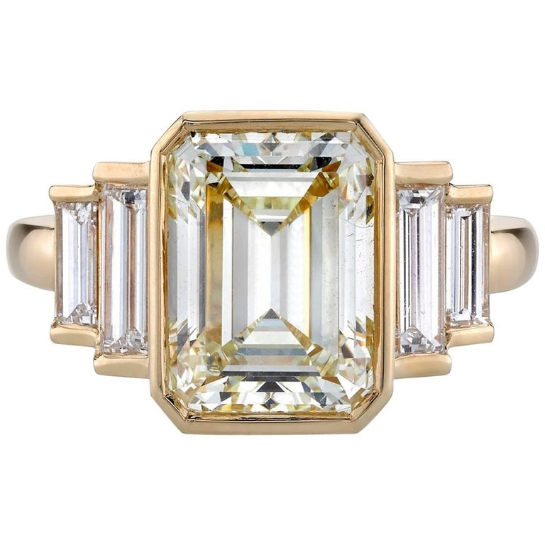 certified emerald cut yellow gold engagement