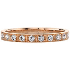 Old European Cut Diamond 18 Karat Rose Gold Band
