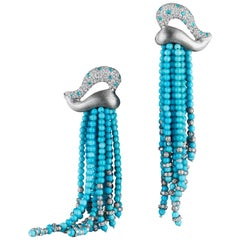 Naomi Sarna Turquoise Diamond Paraiba Tassel Earrings