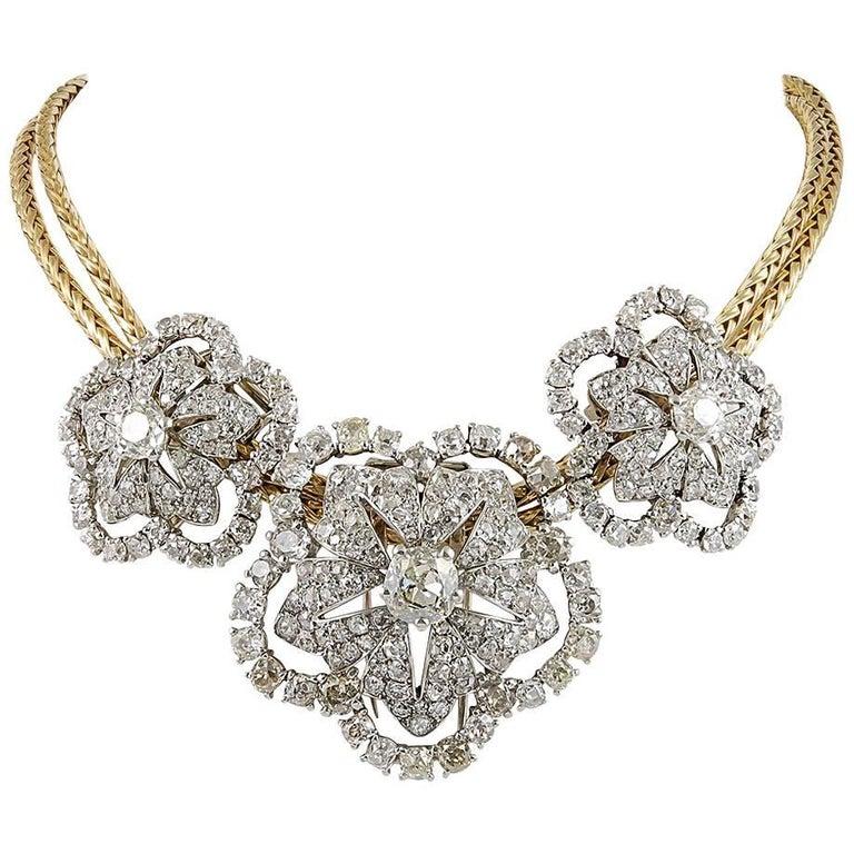 Important 1950s Cartier Paris Triple Diamond Detachable Brooches Gold Necklace