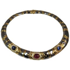 Bulgari 18 Karat Yellow Gold and Hematite Diamond, Sapphire and Ruby Necklace