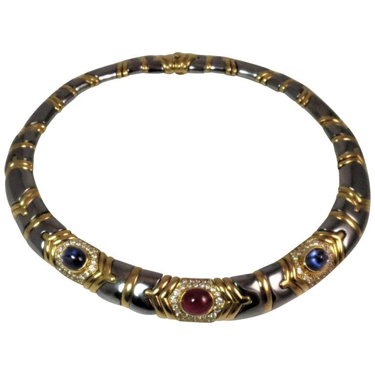 Bulgari 18 Karat Yellow Gold and Hematite Diamond, Sapphire and Ruby Necklace