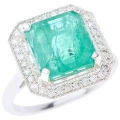 Emerald Diamond Ring Square Cut 4.85 Carat