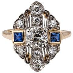 Art Deco 1930s Diamond Sapphire Dinner Ring
